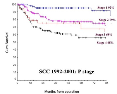Graph showing survival for squamous celll carcinomas treated by the Regional Maxillofacial Unit